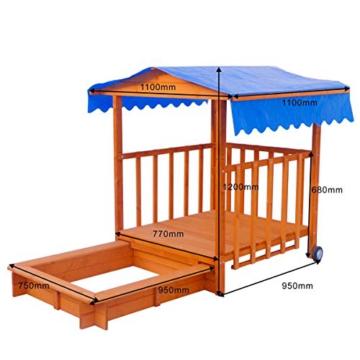 BRAST Sandkasten verstellbares Dach Sandkiste Spielhaus Sitzbänke Holz Pavillon - 2