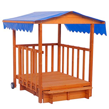 BRAST Sandkasten verstellbares Dach Sandkiste Spielhaus Sitzbänke Holz Pavillon - 3