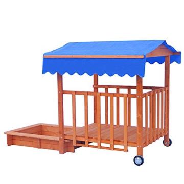 BRAST Sandkasten verstellbares Dach Sandkiste Spielhaus Sitzbänke Holz Pavillon - 4