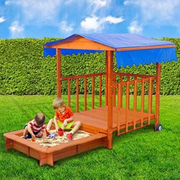 BRAST Sandkasten verstellbares Dach Sandkiste Spielhaus Sitzbänke Holz Pavillon - 1
