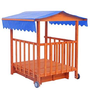 BRAST Sandkasten verstellbares Dach Sandkiste Spielhaus Sitzbänke Holz Pavillon - 5