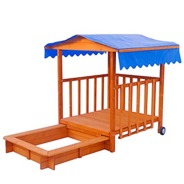 BRAST Sandkasten verstellbares Dach Sandkiste Spielhaus Sitzbänke Holz Pavillon - 7