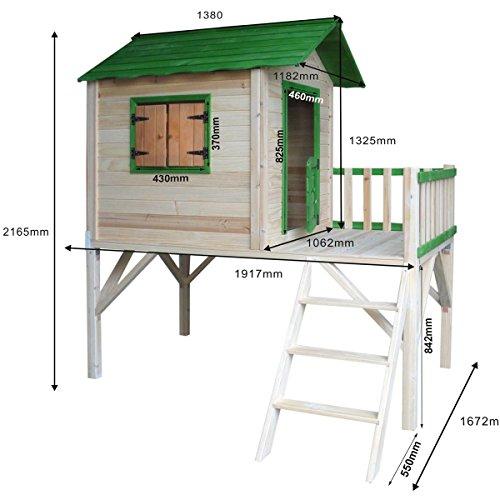 """BRAST Spielhaus für Kinder mit Balkon Stelzenhaus""""Adventure"""" 167x191x216cm Kinder-Haus Turm Holz Spielehaus - 1"""