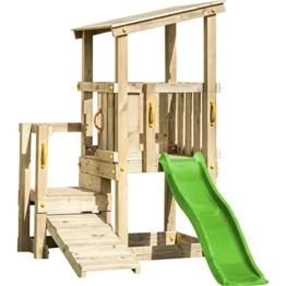 Demmelhuber Blue Rabbit 2.0 Spielturm Cascade mit Rutsche 1,75 m apfelgrün + Kletterrampe Kletterturm Holzturm Kiefer Massivholz imprägniert - 1