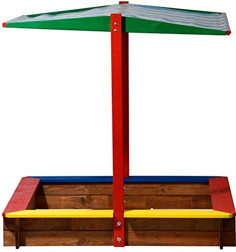 dobar 94355FSC - Sandkasten Holz mit Dach, groß XL viereckig, Sandkiste Sonnendach für Kinder Outdoor, 120 x 120 x 125 cm, FSC-Holz, bunt -
