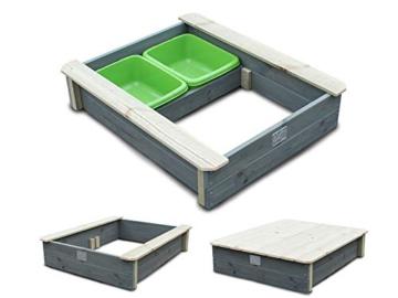 EXIT Aksent Sandkasten mit Deckel / Material: Nordische Fichte / Maße: 94 x 77 x 20 cm / Gewicht: 16 kg - 2