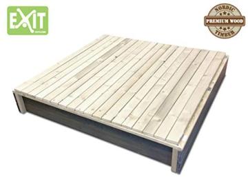 EXIT Aksent Sandkasten XL / mit Deckel = kann zu 2 Bänken umfunktioniert werden / Nordisches Fichtenholz / Maße: 132 x 135 x 20 cm / 27,8 kg - 2