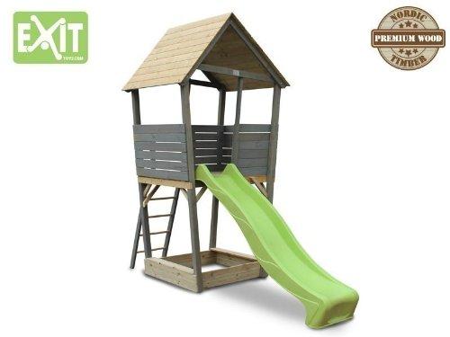 EXIT Aksent Spielturm / mit Aussichtsplattform, Sandkasten, Rutsche + Leiter / Material: Nordische Fichte / Maße: 323x152x297 cm / 88 kg -