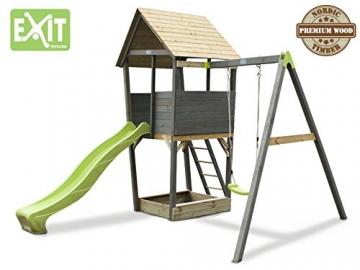 EXIT Aksent Spielturm mit Einzelschaukel / mit Aussichtsplattform, Sandkasten, Rutsche+Leiter / Nordisches Fichtenholz / 320x323x296 cm -