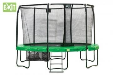 EXIT JumpArenA Oval All-in-1 / 10.95.12.00 / Trampolin mit Sicherheitsnetz, Leiter + Schuhsack / Maße: Ø 244x380 cm x 87,5 cm -