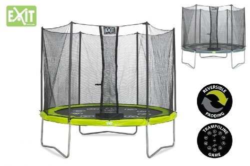 exit twist trampolin gr n grau 305 cm mit sicherheitsnetz mein spielgarten. Black Bedroom Furniture Sets. Home Design Ideas