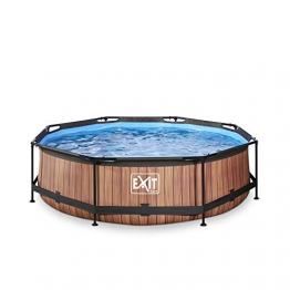 EXIT Wood Pool ø300x76cm mit Filterpumpe - braun - 1