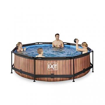 EXIT Wood Pool ø300x76cm mit Filterpumpe - braun - 2