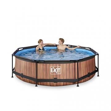 EXIT Wood Pool ø300x76cm mit Filterpumpe - braun - 3