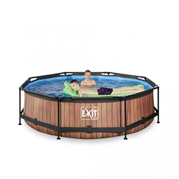 EXIT Wood Pool ø300x76cm mit Filterpumpe - braun - 4