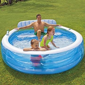 Family Lounge Pool, eingebaute Sitzbank und Getränkehalter, 224 x 216 cm || Familien Schwimmbecken Familienpool Swimmingpool Planschbecken -