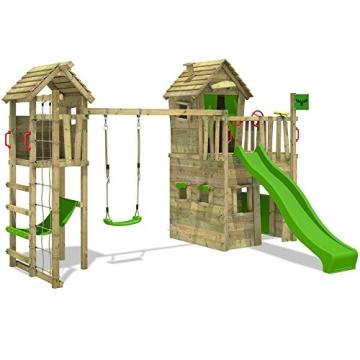 FATMOOSE CrazyCat Comfort XXL Spielturm Baumhaus mit Turmanbau Schaukel und Rutsche -