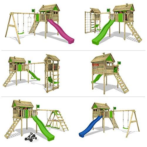 FATMOOSE FunFactory Fit XXL Spielturm Stelzenhaus Baumhaus Spielhaus mit Schaukel und Rutsche -