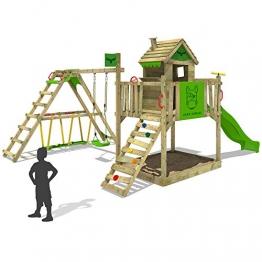 FATMOOSE Kinder-Kletterturm RockyRanch Roll XXL mit schwingendem Surfbrett Spielturm Spielhaus auf Podest mit Veranda Schaukel Rutsche Kletterleiter und großem Sandkasten -