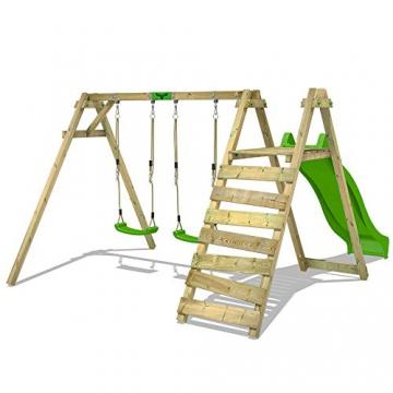FATMOOSE Kinder-Schaukel JollyJay Fast XXL Schaukelgestell Holzschaukel mit 2 Sitzen, Podest und Rutsche - 2