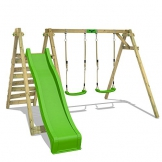 FATMOOSE Kinder-Schaukel JollyJay Fast XXL Schaukelgestell Holzschaukel mit 2 Sitzen, Podest und Rutsche - 1