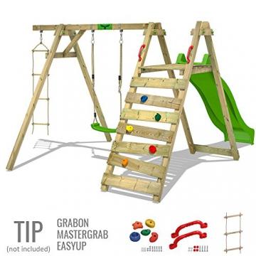 FATMOOSE Kinder-Schaukel JollyJay Fast XXL Schaukelgestell Holzschaukel mit 2 Sitzen, Podest und Rutsche - 3