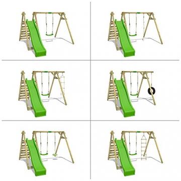 FATMOOSE Kinder-Schaukel JollyJay Fast XXL Schaukelgestell Holzschaukel mit 2 Sitzen, Podest und Rutsche - 4