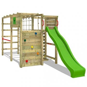 FATMOOSE Klettergerüst FitFrame Fresh XXL Kletterturm Spielturm für den Garten mit Wackelbrett, verschiedenen Kletterleitern, Kletternetz und apfelgrüner Rutsche - 2