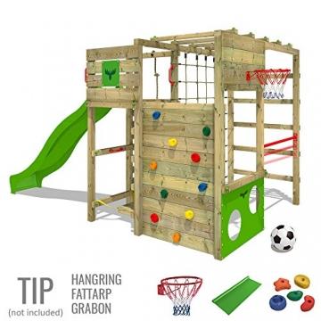 FATMOOSE Klettergerüst FitFrame Fresh XXL Kletterturm Spielturm für den Garten mit Wackelbrett, verschiedenen Kletterleitern, Kletternetz und apfelgrüner Rutsche - 3