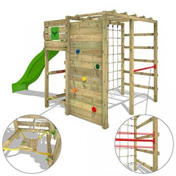 FATMOOSE Klettergerüst FitFrame Fresh XXL Kletterturm Spielturm für den Garten mit Wackelbrett, verschiedenen Kletterleitern, Kletternetz und apfelgrüner Rutsche - 4