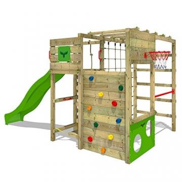 FATMOOSE Klettergerüst FitFrame Fresh XXL Kletterturm Spielturm für den Garten mit Wackelbrett, verschiedenen Kletterleitern, Kletternetz und apfelgrüner Rutsche - 1