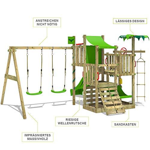 FATMOOSE Klettergerüst Spielturm CrazyCoconut mit Schaukel & apfelgrüner Rutsche, Gartenspielgerät mit Sandkasten, Leiter & Spiel-Zubehör - 2