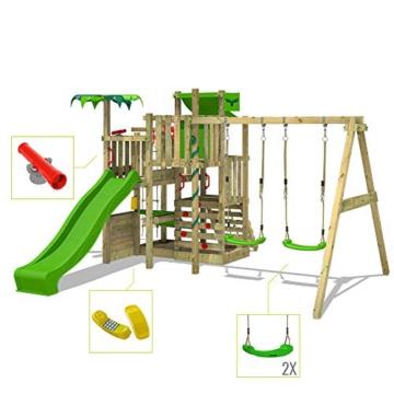 FATMOOSE Klettergerüst Spielturm CrazyCoconut mit Schaukel & apfelgrüner Rutsche, Gartenspielgerät mit Sandkasten, Leiter & Spiel-Zubehör - 3
