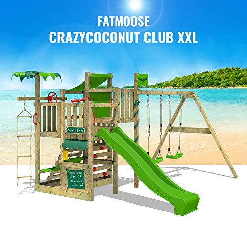 FATMOOSE Klettergerüst Spielturm CrazyCoconut mit Schaukel & apfelgrüner Rutsche, Gartenspielgerät mit Sandkasten, Leiter & Spiel-Zubehör - 4