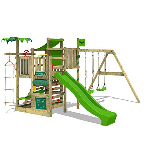 FATMOOSE Klettergerüst Spielturm CrazyCoconut mit Schaukel & apfelgrüner Rutsche, Gartenspielgerät mit Sandkasten, Leiter & Spiel-Zubehör - 1