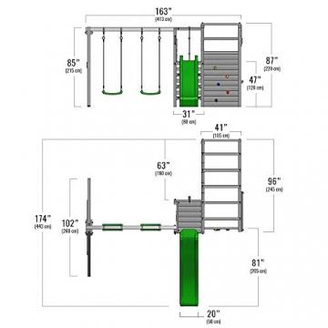 FATMOOSE Kletterturm ActionArena Air XXL Klettergerüst mit Doppelschaukel und Rutsche - 6