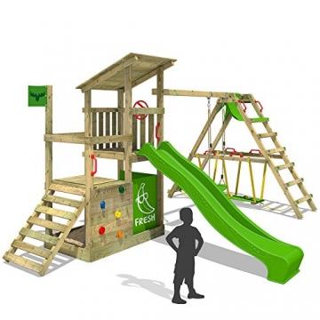 FATMOOSE Kletterturm FruityForest Fun XXL Klettergerüst Spielturm Beach-House mit Schaukel Sandkasten Rutsche und Surfanbau auf 3 Ebenen -