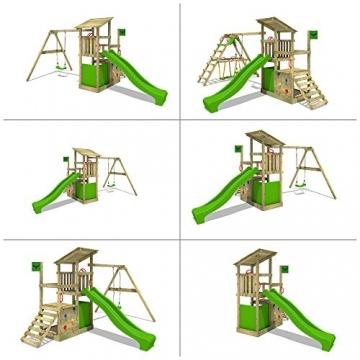 FATMOOSE Kletterturm FruityForest Fun XXL Spielturm Klettergerüst 3 Spielebenen, Rutsche und Sandkasten - 4