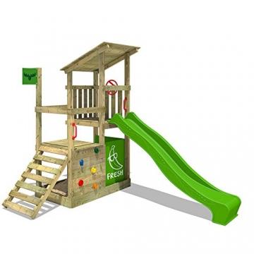 FATMOOSE Kletterturm FruityForest Fun XXL Spielturm Klettergerüst 3 Spielebenen, Rutsche und Sandkasten - 1