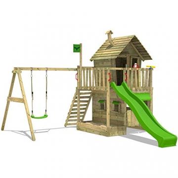 FATMOOSE Kletterturm RebelRacer Super XXL Spielturm Baumhaus Spielgerät Garten mit Rutsche und Schaukel, apfelgrüne Rutsche - 2