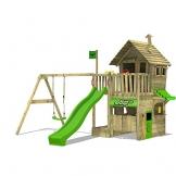 FATMOOSE Kletterturm RebelRacer Super XXL Spielturm Baumhaus Spielgerät Garten mit Rutsche und Schaukel, apfelgrüne Rutsche - 1