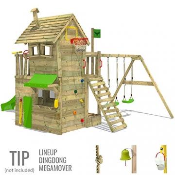 FATMOOSE Kletterturm RebelRacer Super XXL Spielturm Baumhaus Spielgerät Garten mit Rutsche und Schaukel, apfelgrüne Rutsche - 3