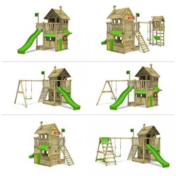 FATMOOSE Kletterturm RebelRacer Super XXL Spielturm Baumhaus Spielgerät Garten mit Rutsche und Schaukel, apfelgrüne Rutsche - 4