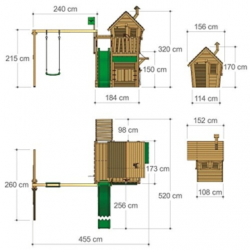 FATMOOSE Kletterturm RebelRacer Super XXL Spielturm Baumhaus Spielgerät Garten mit Rutsche und Schaukel, apfelgrüne Rutsche - 6