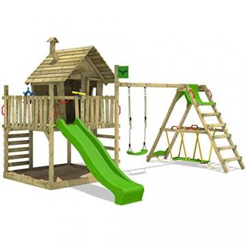 FATMOOSE Kletterturm WackyWorld Mega XXL Spielturm Spielhaus mit Holzdach, Schaukel, Rutsche, Surfanbau, Kletterleiter und integriertem XXL Sandkasten - 2