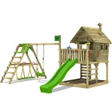 FATMOOSE Kletterturm WackyWorld Mega XXL Spielturm Spielhaus mit Holzdach, Schaukel, Rutsche, Surfanbau, Kletterleiter und integriertem XXL Sandkasten - 1