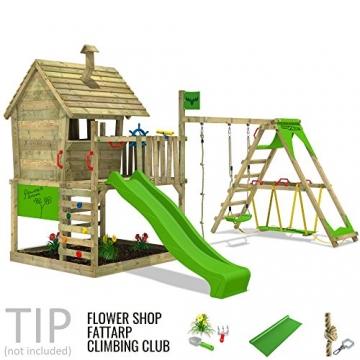 FATMOOSE Kletterturm WackyWorld Mega XXL Spielturm Spielhaus mit Holzdach, Schaukel, Rutsche, Surfanbau, Kletterleiter und integriertem XXL Sandkasten - 3