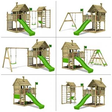 FATMOOSE Kletterturm WackyWorld Mega XXL Spielturm Spielhaus mit Holzdach, Schaukel, Rutsche, Surfanbau, Kletterleiter und integriertem XXL Sandkasten - 4