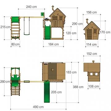 FATMOOSE Kletterturm WackyWorld Mega XXL Spielturm Spielhaus mit Holzdach, Schaukel, Rutsche, Surfanbau, Kletterleiter und integriertem XXL Sandkasten - 6