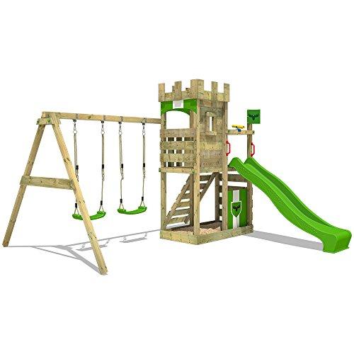 FATMOOSE Ritterburg BoldBaron Boost XXL Spielturm Kinder-Spielplatz mit Schaukel und Rutsche, extrabreitem Sandkasten und Podest - 2